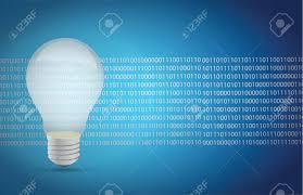 Binary Light Bulbs Light Bulb Binary Illustration Design Over A White Background