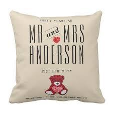 40th ruby wedding anniversary gift personalised cushion
