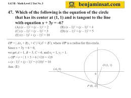 which of the following is the equation of the circle that has its center