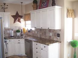 Kitchen:Corner White Coated Wooden Kitchen Cabinet With Brown Pattern  Granite Counter Top For Elegant