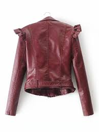 faux leather ruffle trim belted biker jacket for australia shein