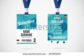 Event Badge Template Event Volunteer Id Card Set With Lanyard Vector Design And Text