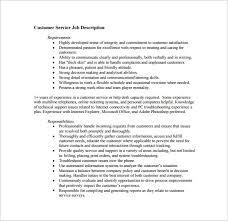 inbound customer service example job description pdf free