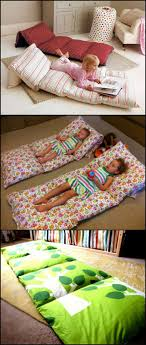 If you have extra pillows in your home, you can turn them into a small bed  for the kids while watching TV or reading book. Either fold a twin sheet in  half ...