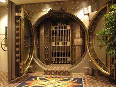 bank vault unusual split round vault door money book old money money in