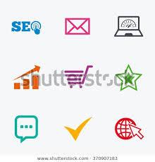 Internet Seo Icons Tick Online Shopping Stock Vector