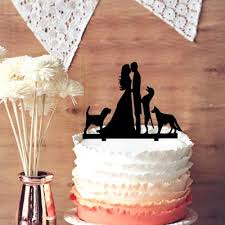 wedding cake toppers. wedding cake topper groom and bride kissing couple with 3 dogs silhouette decoration, happy family decoration toppers