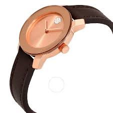movado bold rose dial brown leather las watch 3600438