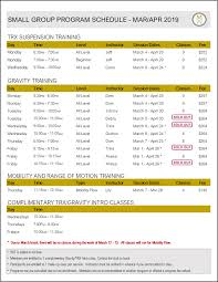 Small Group Training Schedule At Embody Fitness Toronto