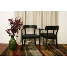 Laine Wenge Wood Faux Leather Modern Dining Chairs