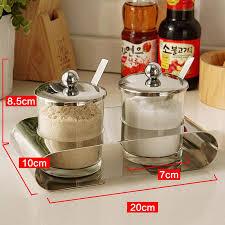 Orz Kitchen Spice Jar Seasoning Sugar Salt Caster With Holder Glass
