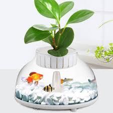 2019 mini aquarium fish tank with hydroponic pot water garden ecological fish tank aquarium kit for desktop decor from home5 34 98 dhgate com