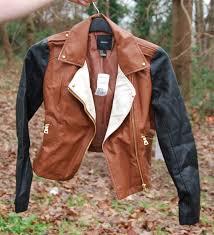 forever 21 colour block leather biker jacket