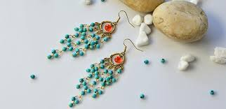 pandahall tutorial on how to make vintage style turquoise bead chandelier earrings