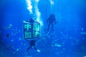 underwater water park. The Nanchang Wanda Water Park Recently Hosted An Underwater Olympics. Divers From Dressed As Athletes And Won Applause For Its Breathtaking H