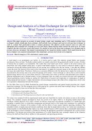 Research Paper On Heat Exchanger Design Design And Analysis Of A Heat Exchanger For An Open Circuit
