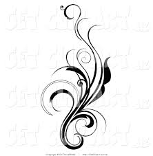 Black Scroll Design Clip Art Clip Art Of An Elegant And Curly Black And White Design