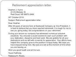 retirement appreciation letter retirement letter to company