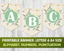 Printable Alphabet Watercolor Banner Letters Numbers Custom Etsy