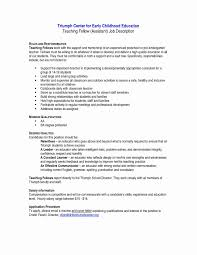 Preschool Teacher Assistant Job Description Resume Best Of Teacher