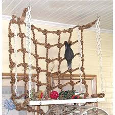pro parrot birds pet rope swing ladder chew toys parakeet climbing net play gym diy wooden