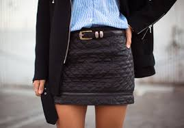 Pinstripes and Quilted Leather | Song of Style & ... song-of-style-quilted-leather-skirt Adamdwight.com