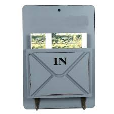 new wood mail box letter rack key holder wall storage creative home decoration with hook hanger and twillo mounted