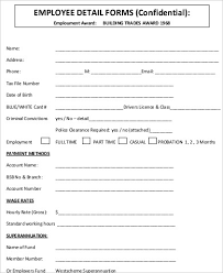 Form For Employee Sample Employee Details Form 10 Examples In Word Pdf