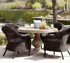 geneva concrete round dining table torrey roll arm chair set espresso pottery barn