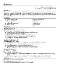 Employment Specialist Resume New Unforgettable Accounts Payable Specialist Resume Examples To Stand