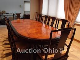 quality dining room set. high-end quality vintage dining room set by century furniture from their retired chin hua