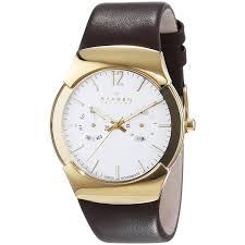 skagen skagen men s 583xlgld multi function brown leather watch com