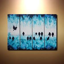 large abstract art bird on a wire painting 24x32 tetraptych multiple canvas art fluid acrylic