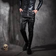 2019 male personality punk leather pants mens slim casual trousers skinny pants men leather pant pantalones hombre cargo black 2017 from hongyeli