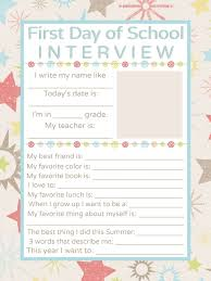 best school interview ideas all about me first day of school interview printable