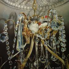 honeymooners in crystal palace pair of zebra finches in crystal chandelier bird pet portrait oil