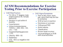 acsm recommendations for exercise testing prior to exercise partition