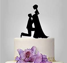 Amazoncom Shinybeauty Cake Topper Funnypregnant Bride And Groom