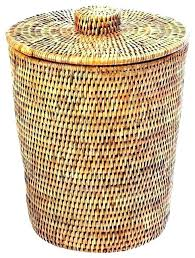 tall wicker trash basket with metal liner garbage can outdoor cool lid resin wicker trash hideaway large can