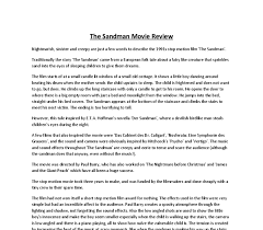 the sandman movie review gcse media studies marked by teachers com document image preview