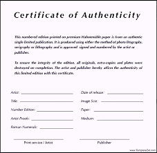 Artist Certificate Of Authenticity Template Certificate Of