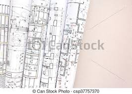 architecture blueprints. Interesting Architecture Rolled Architectural Blueprints And Technical Drawings On Desk  Csp37757370 For Architecture Blueprints