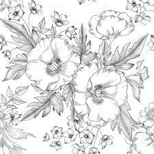 花のシームレスなパターン夏の花の花束の装飾背景を彫刻