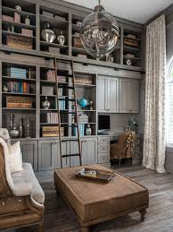 traditional office design. elegant builtin desk dark wood floor home office library photo in detroit with gray traditional design t