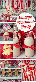 A gorgeous vintage Christmas party in red and white with a fabric and a  gingerbread garland