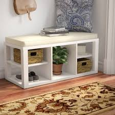 Classic polished wooden entryway bench Storage Bench Quickview Hashook Benches Birch Lane