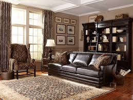 dark brown leather sofa with nailhead trim contemporary living room