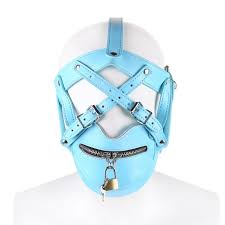 Leather locking bondage blue
