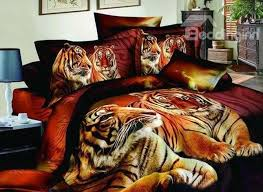 usd 94 09 3d heart warming tiger on land printed cotton 4 piece bedding sets
