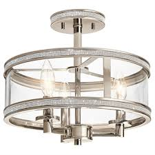 kichler lighting angelica 13 in w polished nickel clear glass semi flush mount light